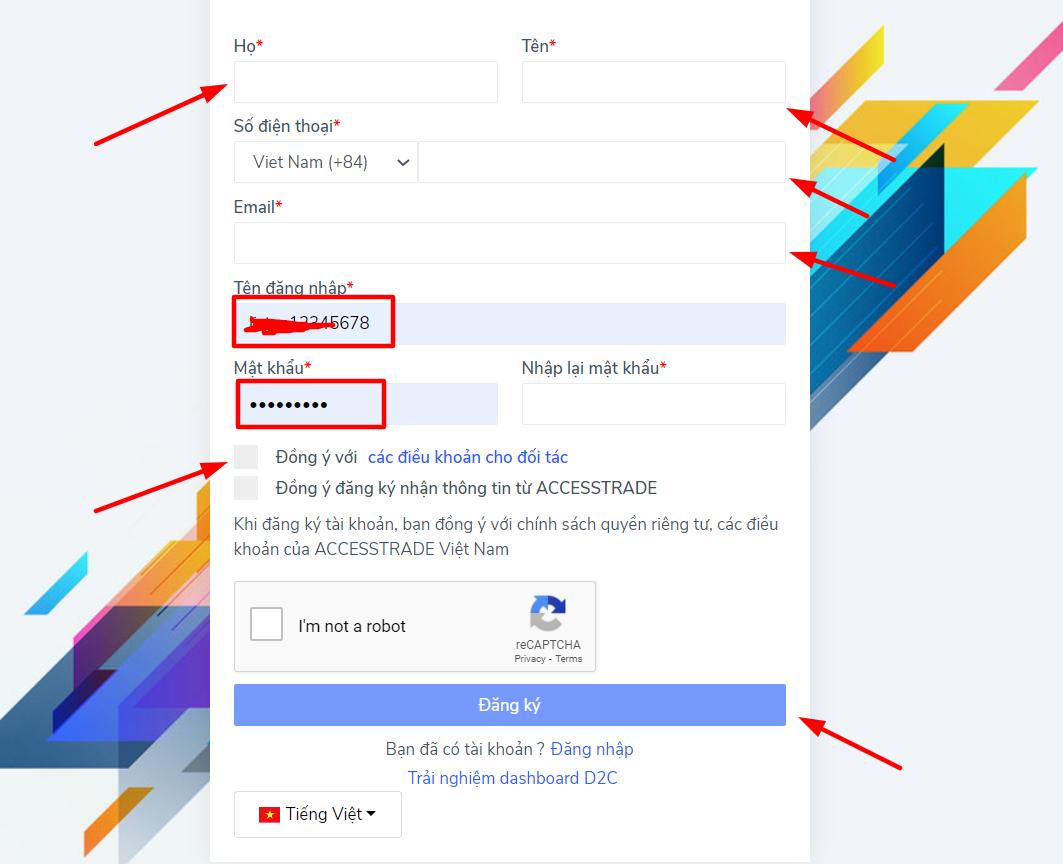Cách đăng ký tài khoản Accesstrade 2