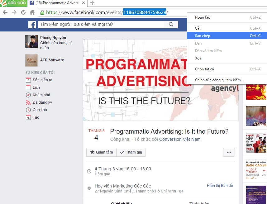 Hướng dẫn cách lấy UID trên Facebook 2017 - image quet-event on https://atpsoftware.vn