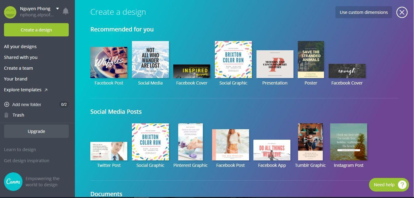 canva 1 - Hướng dẫn thiết kế ảnh avatar, ảnh bìa, ảnh bán hàng miễn phí cực đẹp bằng Canva