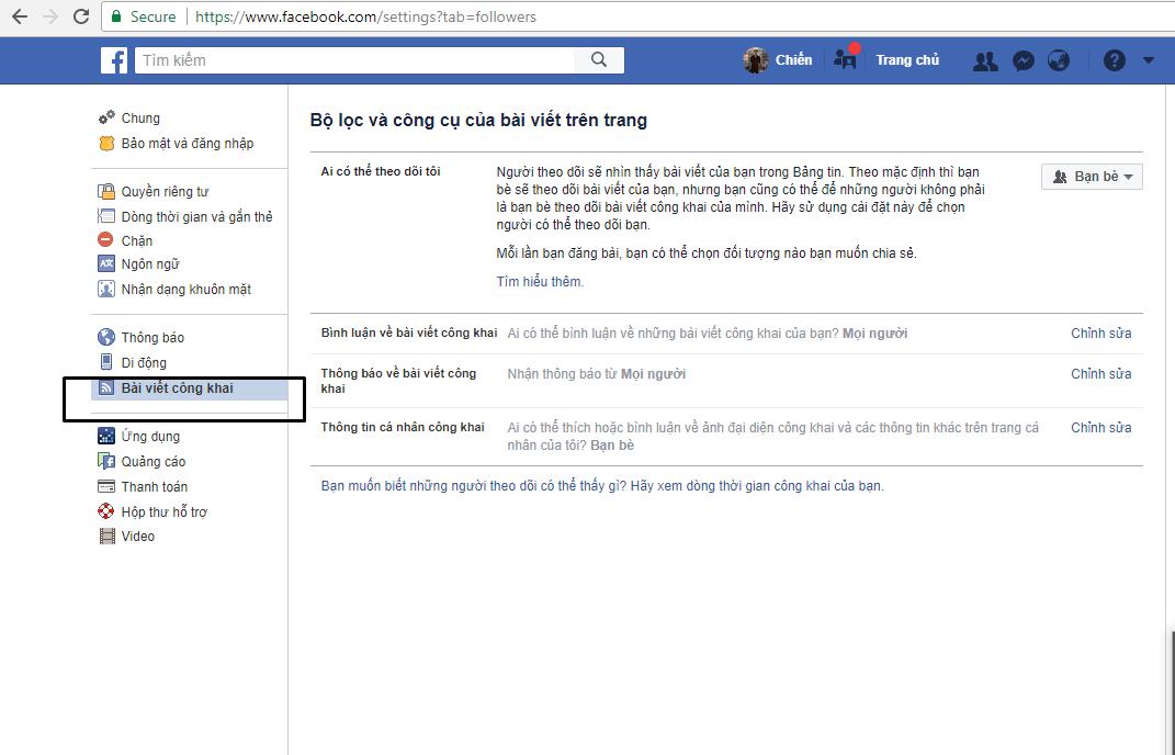 13 - Hướng dẫn bật chế độ theo dõi trên tài khoản facebook cá nhân