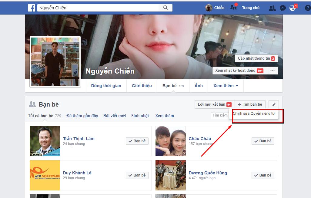 18 - Hướng dẫn ẩn danh sách bạn bè trên facebook cá nhân
