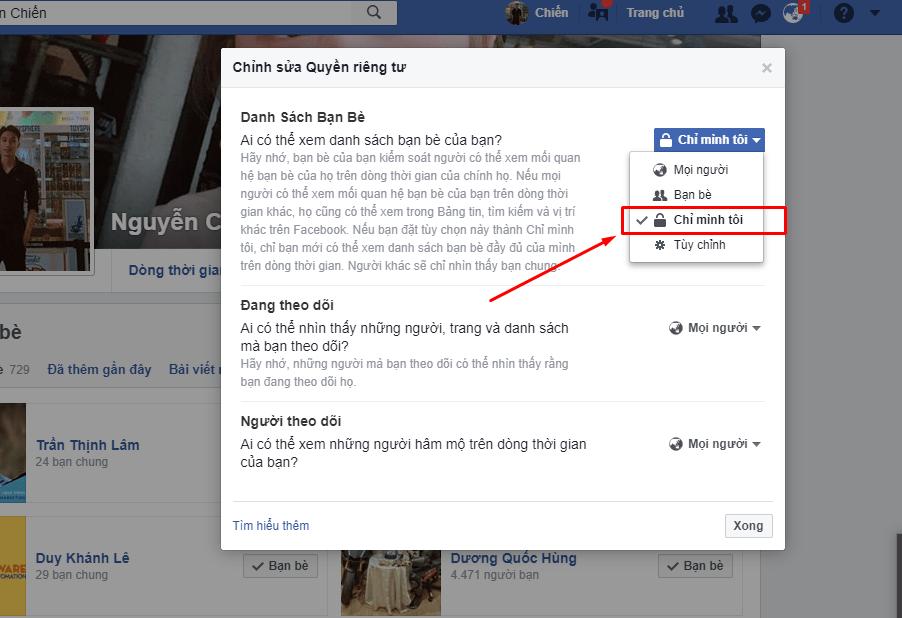 19 - Hướng dẫn ẩn danh sách bạn bè trên facebook cá nhân