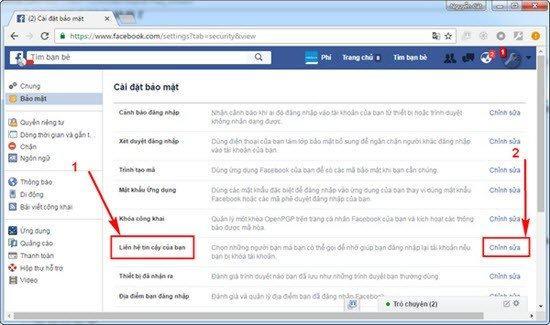 25 - Hướng dẫn thêm bạn bè tin cậy vào tài khoản facebook cá nhân