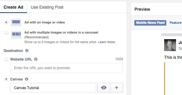 tao facebook canvas 22 - Hướng dẫn tạo post quảng cáo Facebook Canvas