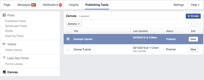 tao facebook canvas 4 - Hướng dẫn tạo post quảng cáo Facebook Canvas