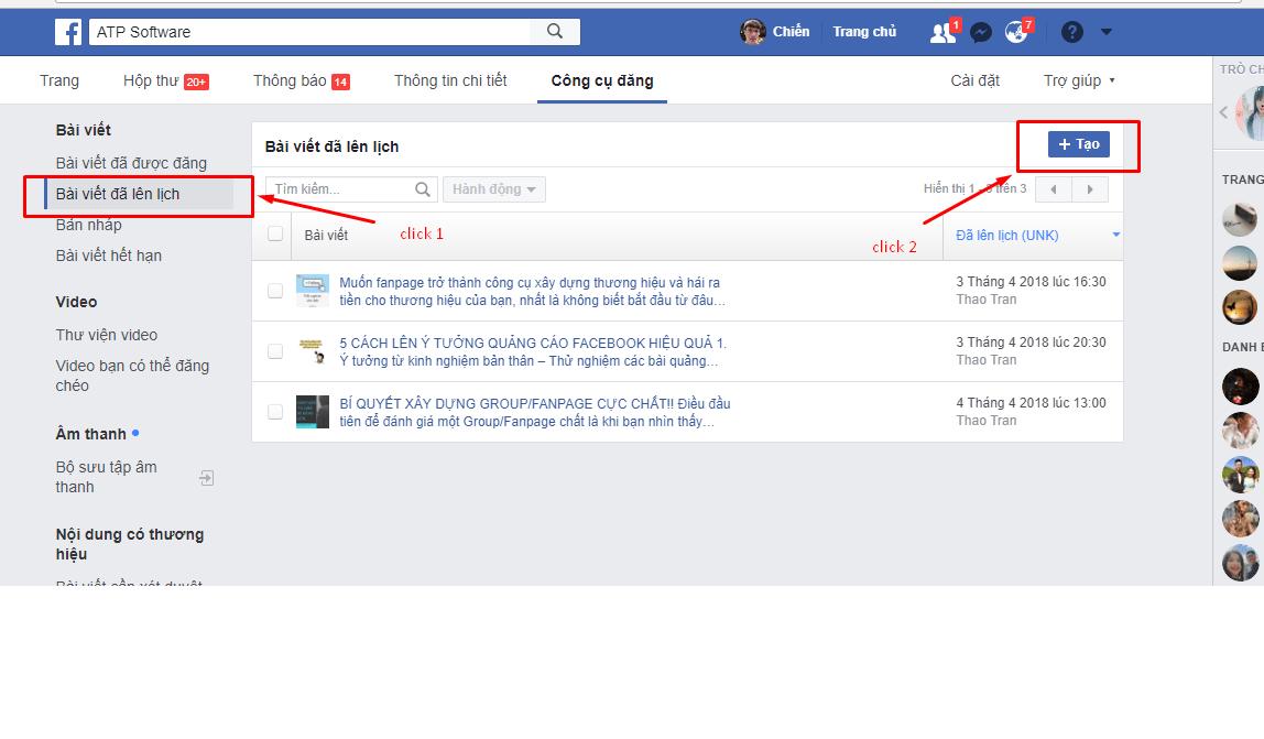 3 - Hướng dẫn đặt lịch hẹn giờ đăng bài trên fanpage