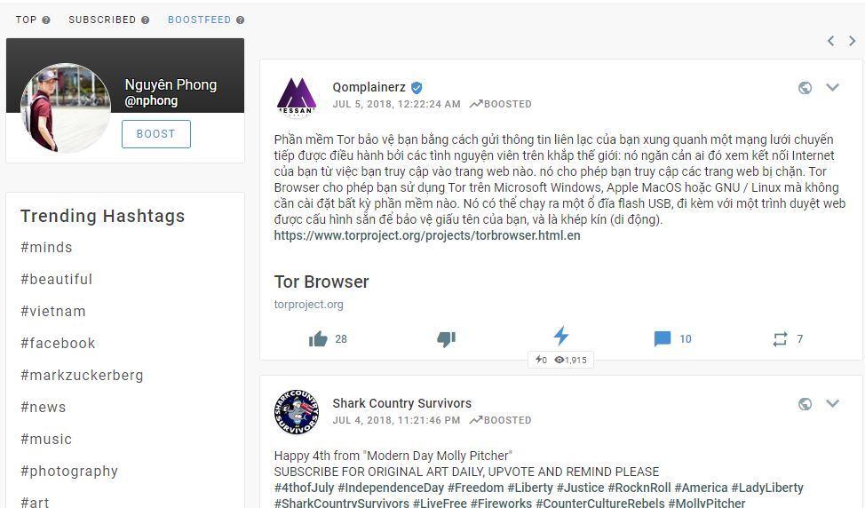 boosted newsfeed minds - Giới thiệu các tính năng chính trên giao diện của MXH Minds.com