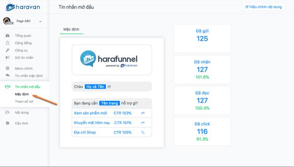 harafunnel chatbot page - Trọn bộ phần mềm marketing Facebook hỗ trợ bán hàng online của ATP Software