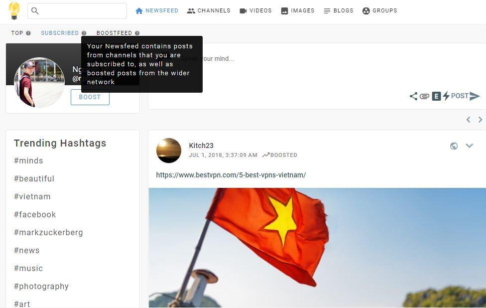 subcribded newsfeed - Giới thiệu các tính năng chính trên giao diện của MXH Minds.com