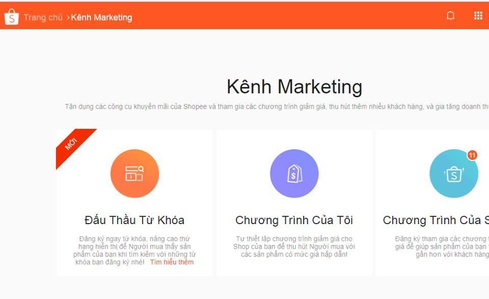 truy cap muc kenh Marketing de dau thau tu khoa - Hướng dẫn chạy quảng cáo bán hàng trên Shopee 2018