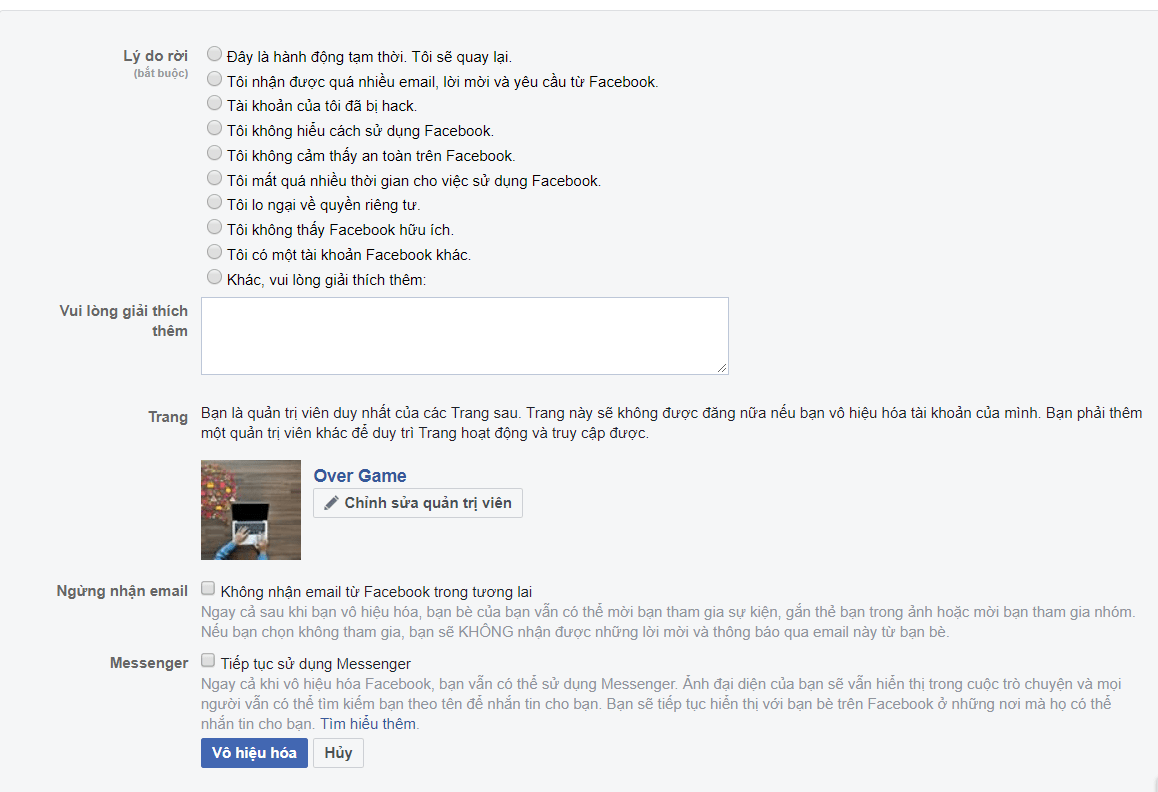 4 - Hướng dẫn cách xóa tài khoản Facebook tạm thời và vĩnh viễn trên điện thoại & máy tính