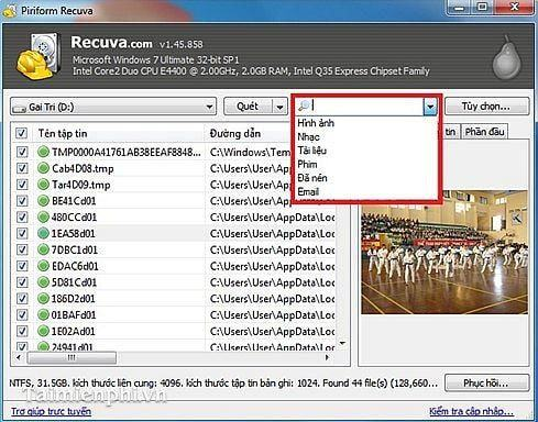 """a5 review phan mem khoi phuc du lieu recuva - Phần mềm cứu và khôi phục dữ liệu trên laptop miễn phí - """"Thuật sĩ"""" Recuva"""