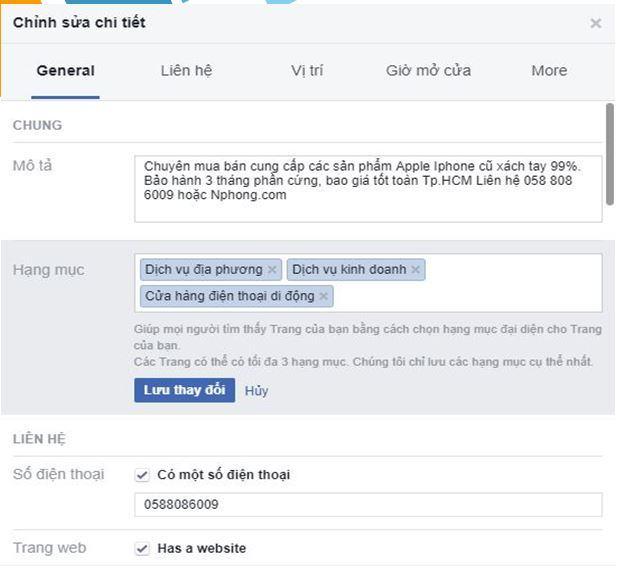 tối ưu thông tin pagew - Cách sử dụng All-in-One để bán hàng trên Fanpage hiệu quả