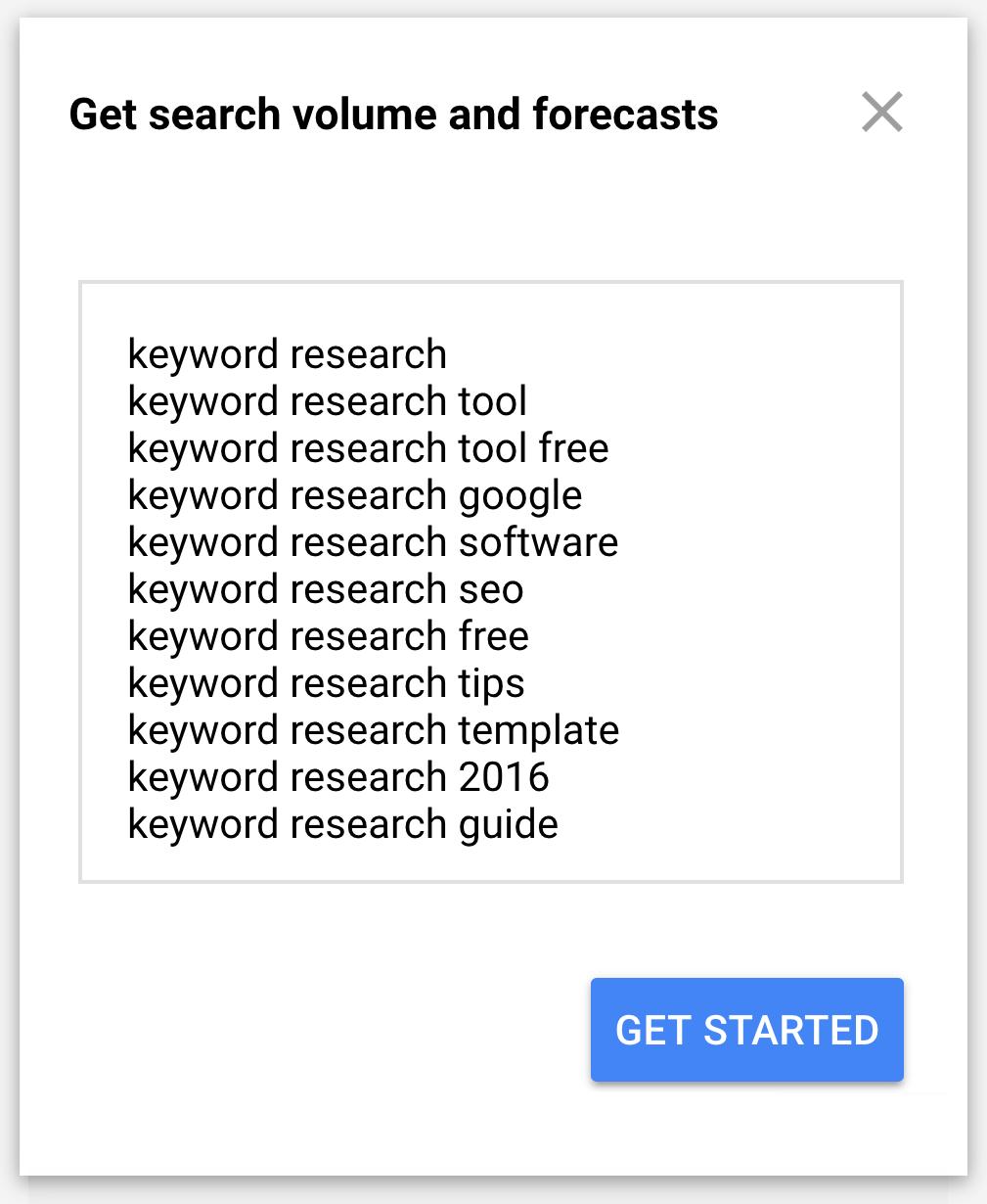 Google Keyword Planner - Khối lượng & Dự báo