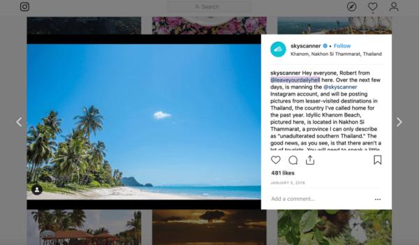 Skyscanner tiếp quản Instagram