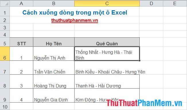 Cách xuống dòng trong một ô Excel 3
