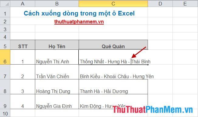 Cách xuống dòng trong một ô Excel 4